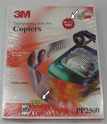 New 3M Transparency Film For Copiers PP2500 120 Sheets 8.5x11