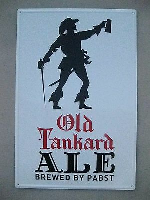 Old Tankard Ale Brewed By Pabst Metal Tacker Beer Sign PBR