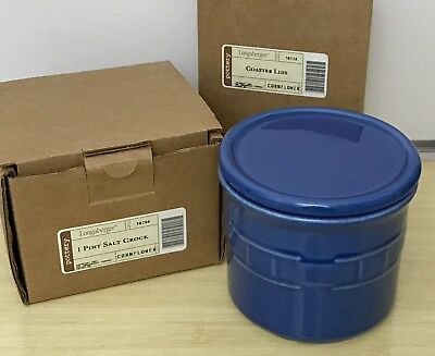 Longaberger Pottery One Pint Salt Crock and Lid Coaster in Cornflower
