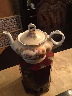 """Vintage LEFTON China Musical Teapot Pink Flowers Gold Trim Plays """"Tea for Two"""""""