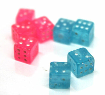Pink & Blue Acrylic Cube Dice Plastic Screw Replacement Balls End Ball 14G
