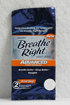 New Breathe Right Advanced 12 Clear Nasal Strips Drug Free