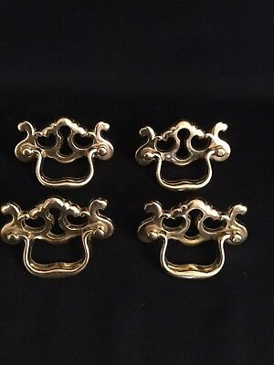 Vintage Set of 4 Solid Brass Drawer Pulls