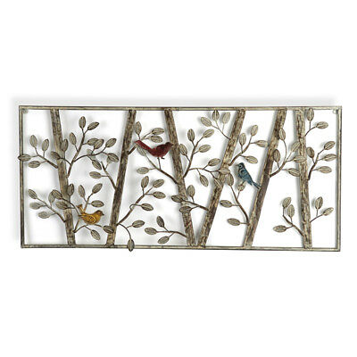 Trees And Birds Metal Wall Art 97cm | Large Panel Tree Hanging Iron Wall Decor