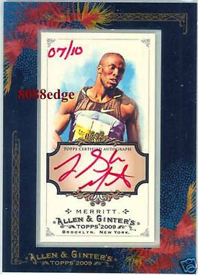 2009 ALLEN & GINTER'S AUTO RED: LaSHAWN MERRITT #7/10 AUTOGRAPH OLYMPIC CHAMPION