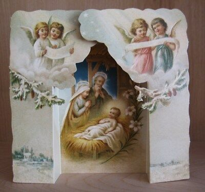 Very Sweet Religious Christmas NATIVITY Stand-Up SCENE TABLEAU with Cherubs