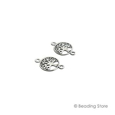 2 or 20 925 Sterling Silver Tree of Life Link Connectors Drops Spacer Findings