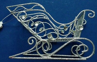 Pier 1 Imports: Glitter Silver Sleigh With Jewels Christmas Tree Ornament Nwt!