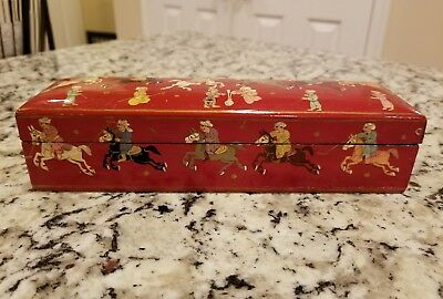 Vintage Antique Hand Painted Laquer Wood Box Saks Fifth Ave Polo Players