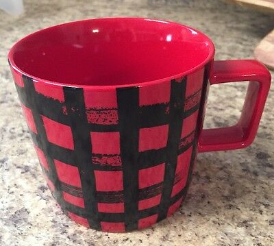 2016 Starbucks Mug 14 fl oz Red and Black Plaid Design New