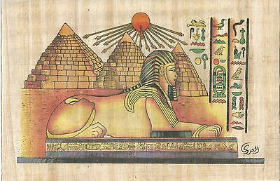 EGYPT PAPYRUS- Hand Painted Papyrus About the Pyramids and Sphinx (19.5×29.5)cm