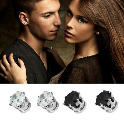 1Pair Exquisite Mens Women Clear/Black Crystal Magnet Earrings Stud Jewelry BB
