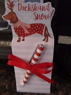 Dachshund Through the Snow Notepad with Pen Christmas Holiday Weiner Dog NEW