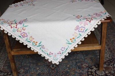 VINTAGE TABLECLOTH Cream Linen Embroidered Crocheted 88x86cm #29