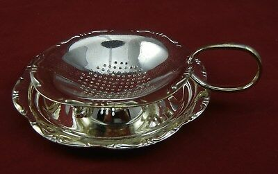 Vintage Silver Plated Tea Strainer Cup with Saucer