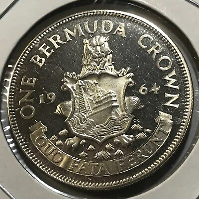 1964 Bermuda One Crown  Silver Proof Uncirculated Beauty Low Mintage