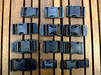 Scuba diving bcd or camping gear clips & buckles, various x 12
