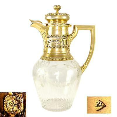 Antique French Sterling Silver Gilt Vermeil Crystal Carafe Decanter Claret Jug
