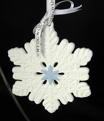 Wedgwood 2014 Snowflake White Blue Christmas Ornament Holiday MSRP $36