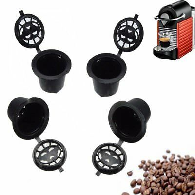 4pcs Reusable Compatible Coffee Espresso Capsules Pods Filter Cups Tool
