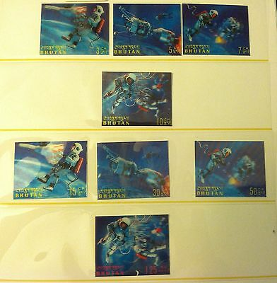 Lot of 8 different Bhutan 3D space walking hologram stamps MNH