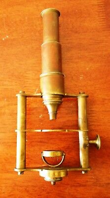 Antique French Microscope Brass 1860s Unsigned