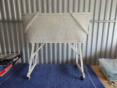 Vintage White Wicker Baby Bassinete With Handles Collapsible 1940's