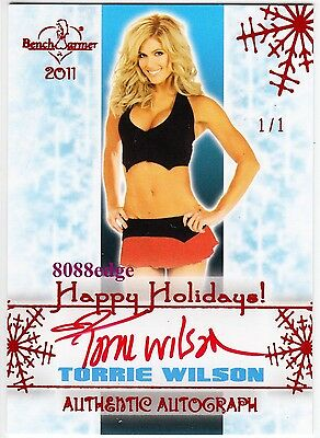 2011 Benchwarmer Holiday Auto: Torrie Wilson #1/1 Of One Red Autograph Playboy