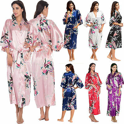 Womens Satin Silk Robe Kimono Dressing Gown Vintage Wedding Bridal Bridesmaid AU