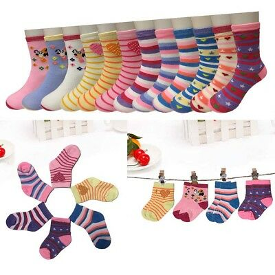 New 12 Pairs Dozen Kids Girls Multi Color Casual Crew Socks Cotton Multi-Size