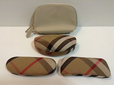 3 Used Great Condition Burberry Sunglasses Cases & 1 New Make Up Beauty Bag