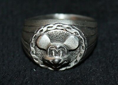 Rare Vintage Disney Mickey Mouse Pewter  Ring Size 11 Nos