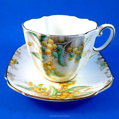 Very Old Yellow and Green Acacia Flowers Paragon Tea Cup and Saucer Set