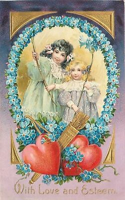 Valentine~Girls In Forget-Me-Nots Circle~Lace Collars~Art Nouveau~Emb~Brundage