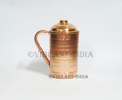100% Pure Copper Handmade Water Jug Pitcher India Yoga Ayurveda Health 1.5L