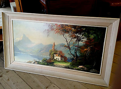 Clarence Vernon French Oil on Canvas Painting  1960s ? Alps ? 37 inch