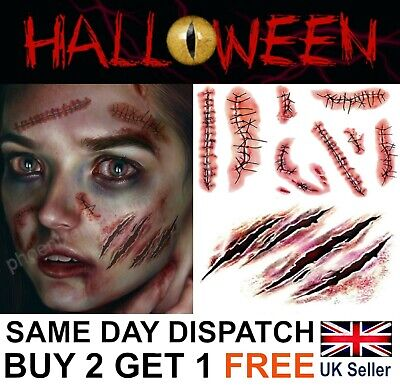 Halloween Zombie Scars Tattoos Fake Blood Scab Scar Wound Costume Make-Up Kit UK