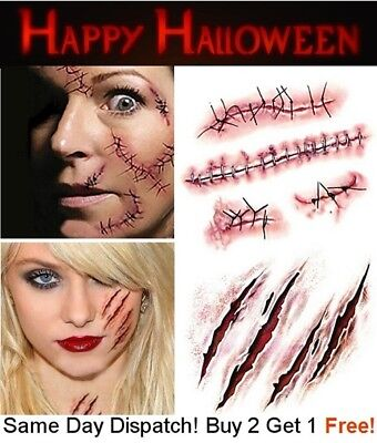 Halloween Zombie Scars Tattoos Fake Scab Scar Blood Wound Face Make-Up Kit UK