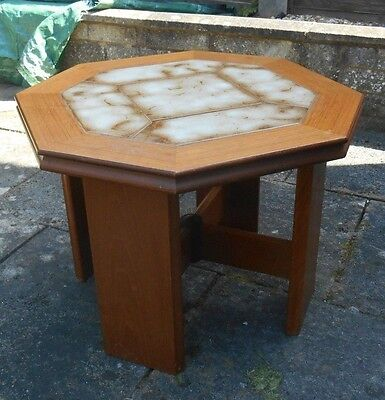 G Plan Teak Octagonal Coffee Table Tile Top 1970s Red Label 24 inch