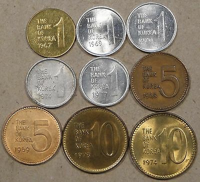 South Korea 9 Coins Better Grade-BU 1 Won 1967,69,70,74,+77; 5 Won 1968+69; 10 W