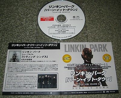 LINKIN PARK Japan PROMO ONLY 1 track CD acetate BURN IT DOWN others listed!