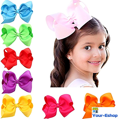 Hair Bows Lot Bow Tie Ribbon 6 Inch Alligator Clips Ties Girls Kids Baby Girl 16