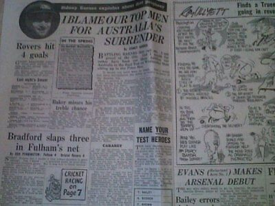 1953 Fulham 4 V 4 Bristol Rovers Daily Express & Reports