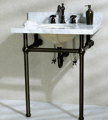 """Kingston Brass Templeton Ceramic 30"""" Console Bathroom Sink with Overflow"""