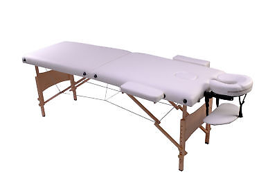 Table De Massage Pliante En Bois 210X80X80Cm Blanche + Sac De Transport