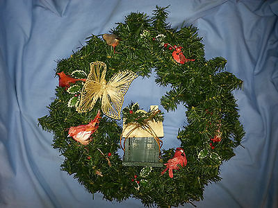 Christmas Wreath, Cardinals, Butterfly, Birdhouse