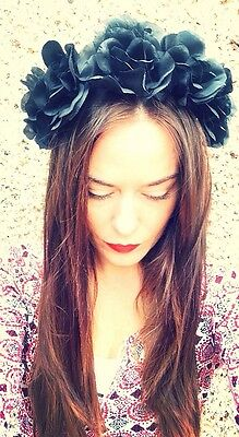 Flower Headband Black Boho Floral Crown Goth Candy Skull Day Of Dead 💀