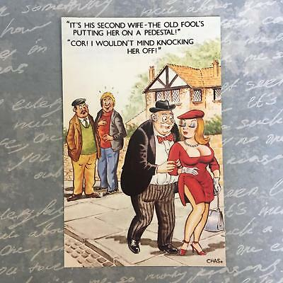 Bamforth 1970's Saucy Comic Series British Postcard #892 Second Wife Pedestal