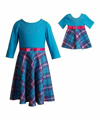 Dollie and Me Girls Plaid Dress with Matching Doll Outfit Size 6 NWT