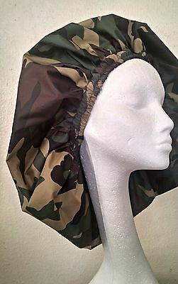 New Handmade Unisex Green Camouflage Shower Caps